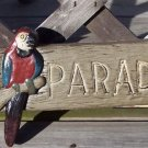 Welcome to Paradise Tropical Tiki Parakeet Plaque Sign