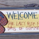 Welcome Lazy Days Summer Tropical Beach Wood Sign