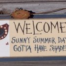 Welcome Sunny Summer Days Tropical Beach Wood Sign