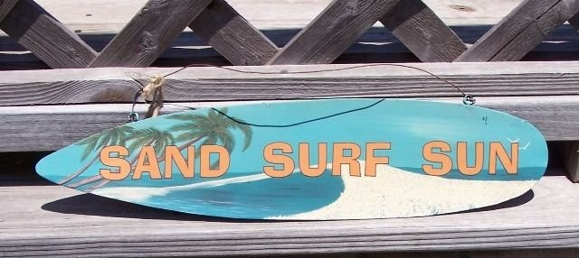 Sand Surf Sun Tropical Beach Bar Surfboard Metal Sign