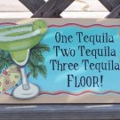 One Two Three Tequila Floor Tropical Beach Bar Sign