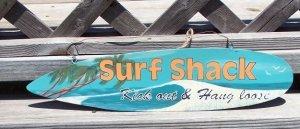 SURF SHACK Tropical Beach Bar Surfboard Sign