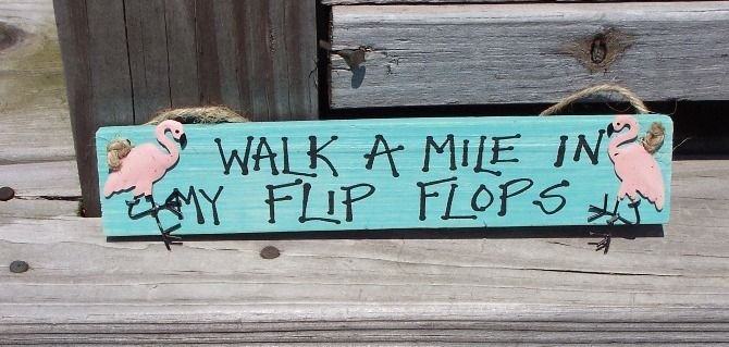 Flamingo Tropical Wood Sign Walk a Mile in Flipflops