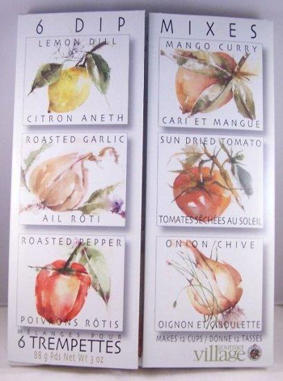 Gourmet Village 6 Dip Mixes Pepper Garlic Tomato Onion