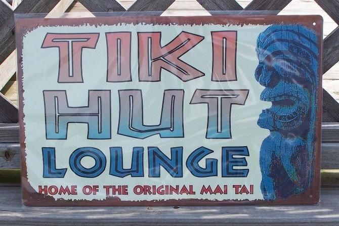Tiki Hut Lounge Home of MAI TAI Tropical Beach Bar Sign