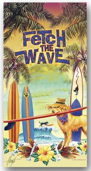 Fetch The Wave Tropical Beach Towel Dog with Surfboard