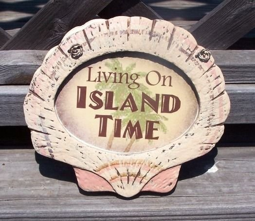 Living On Island Time Tropical Tiki Beach Bar Sign