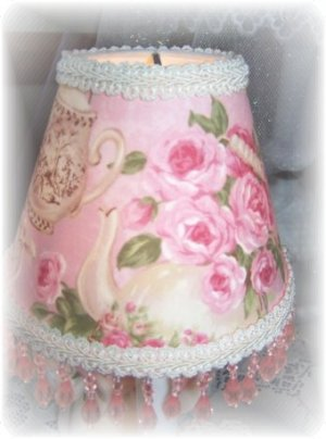 Teapots & Teacups Pink Roses Chic Fab Beaded LAMPSHADE