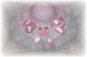 Lovely Pink & White Victorian Hat Decorative Display HAT