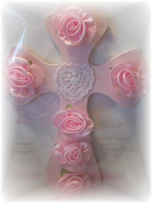 NEW! Cottage Chic Decors PINK ROSE HEART CROSS Feminine Girls Decor