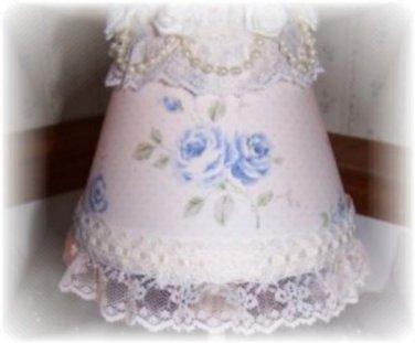 Shabby Blue Roses Cottage Chic Romantic Lampshade MINI Shade