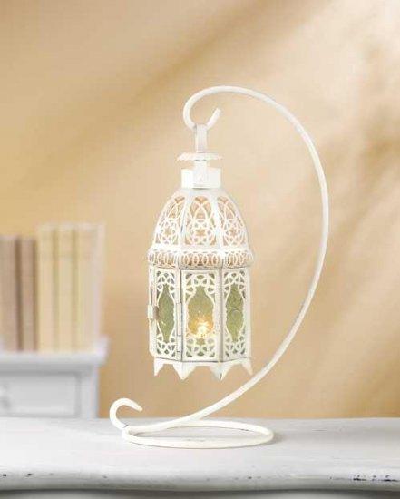 White Fancy Lantern W/Stand