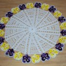 Purple and Yellow Pansy Chain Hand Crochet Doily