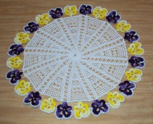 Purple and Yellow Pansy Chain Hand Crochet Doily