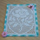 Filet Rose with Butterfly Hand Crochet Doily - **NEW**