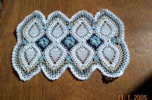 Pineapples and Blue Roses Hand Crochet Doily - **NEW**