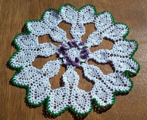 African Violets and Pineapples Hand Crochet Doily - **NEW**