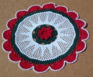 Christmas Fanfare Holiday Hand Crochet Doily - **NEW**