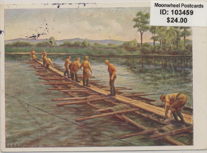 Propaganda. SA men building a bridge.