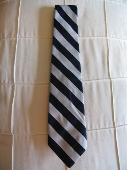 White and Navy Vertical striped 80's tie