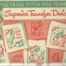 Vintage Hand Embroidery Iron On Transfers-7 Playful Cross Stitch Dog Towels