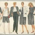 Vintage Pattern-VOGUE-Misses Jacket-Skirt-Pants-Shorts-Top-Sizes 8-10-12