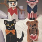 Plastic Canvas Pattern Booklet-SEASONAL ROOM SWEETIES-Scarecrow-Angel-Snowman-Ca