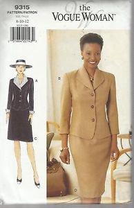 The Vogue Woman Pattern #9315-Misses Top & Skirt-Sz 8-10-12.  UNCUT