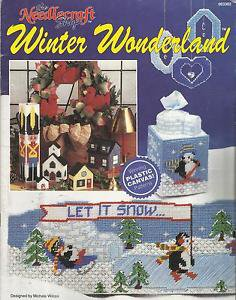 Plastic Canvas Pattern Booklet-Winter Wonderland-Tissue Box Cover-Draft Stopper