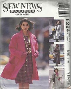 Pattern-Sew News-Misses Lined Coat in Three Lengths & Tie  Belt-Sz 6-8 (XS) Uncu