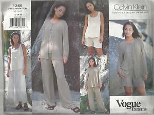 Vogue American Designer Pattern-Calvin Klein-Misses Jacket-Top-Skirt-Shorts-Pant