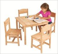 KidKraft Natural Birch Farmhouse Table &4 Chair Set KK21421