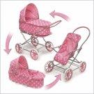 Badger Basket Pink w/White Polka Dots 3-in-1 Pram-Carrier-Stroller#00563