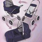 Badger  Basket Navy/White 3 in 1 Doll Pram/Carrier/Stroller 09922