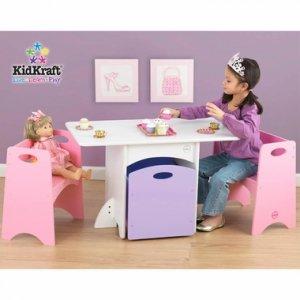 Kidkraft  Childs White Table w/ 2 Pastel Benches  KK26162 Multi