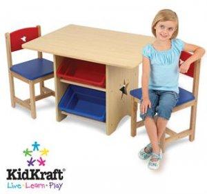KidKraft  Star 5PC Storage Table &2 Chair Set KK26912 Multi