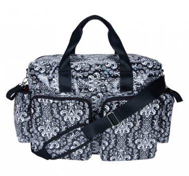 Trend Lab Baby Diaper Bag Midnight Fleur Damask Deluxe Duffle Bag #104329 Multi