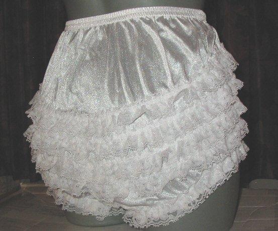 WHITE ADULT SISSY RUFFLE RHUMBA PANTIES FRILLY waist-40
