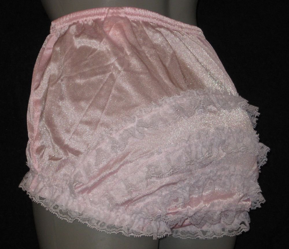 VINTAGE  STYLE BABY  PINK  CAN CAN RUFFLE PANTIES -lge-XL
