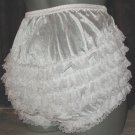 ruffle all nylon white sissy lacy rhumba tennis panties   - large xlarge