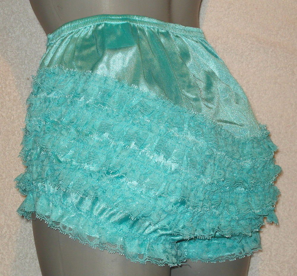 b VINTAGE STYLE  AQUA  SISSY CAN CAN  RUFFLE PANTIES large