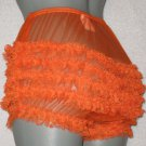 RETRO  STYLE SHEER ORANGE CAN CAN CHIFFON RUFFLE PANTIES M-L-XL