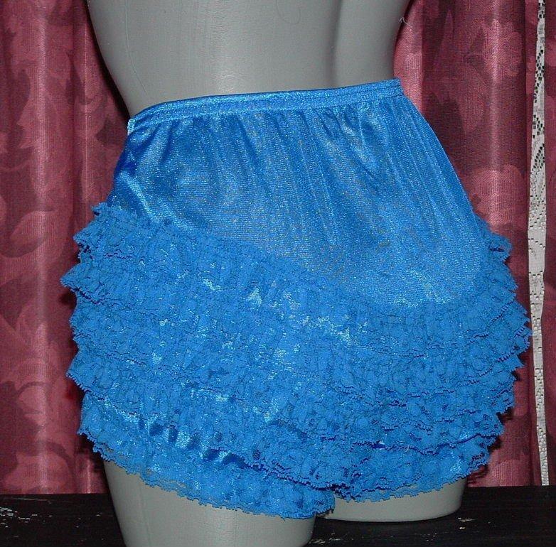 RUFFLE all nylon royal blue sissy lacy rhumba tennis panties s m l xl frilly