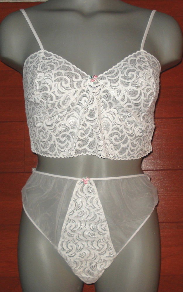 SEXY  Nancy King Baby Doll night TOP PANTIES nylon  size  medium WHITE  nwt