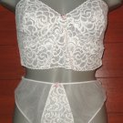SEXY  Nancy King Baby Doll night TOP PANTIES nylon  size  medium WHITE  nwt