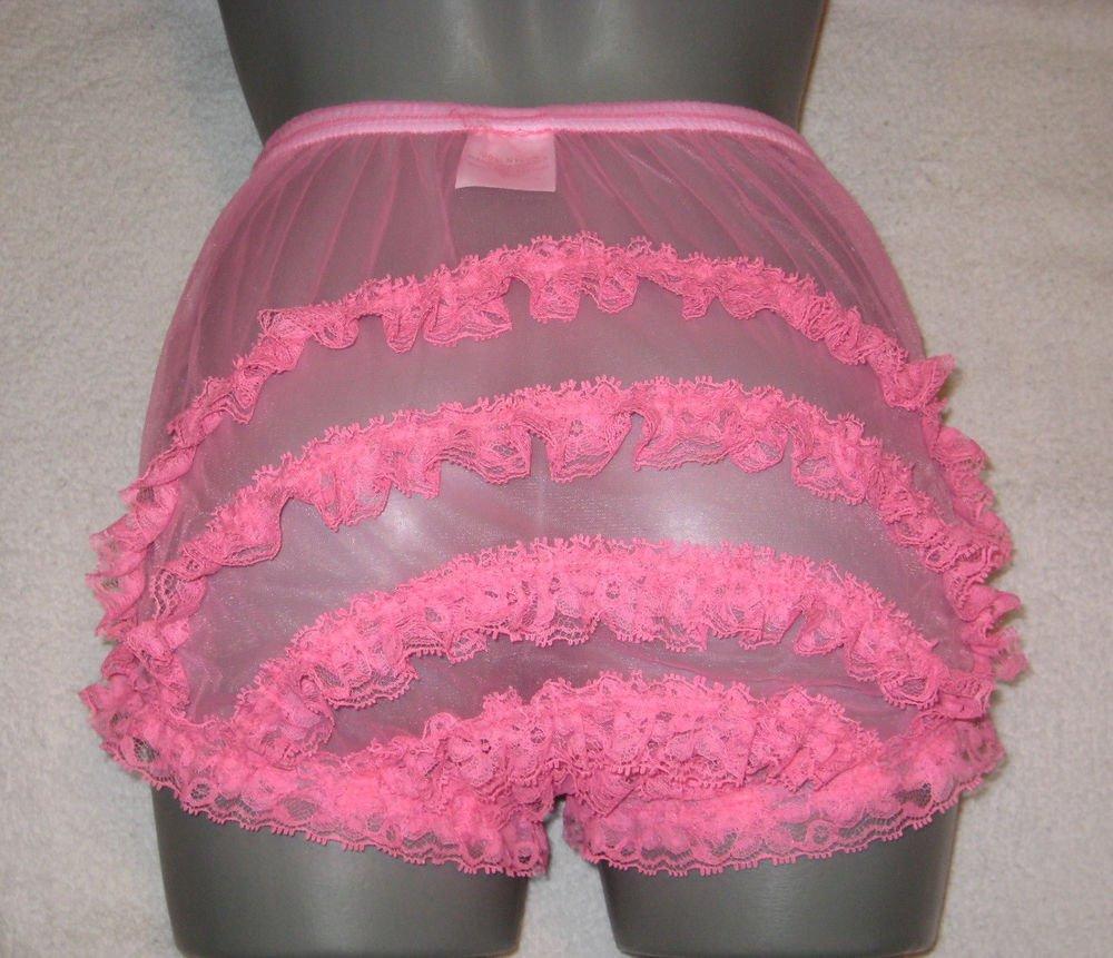 ULTRA SHEER  GIRLY  VINTAGE STYLE  HOT PINK PANTIES  PANTIES M-L-XL