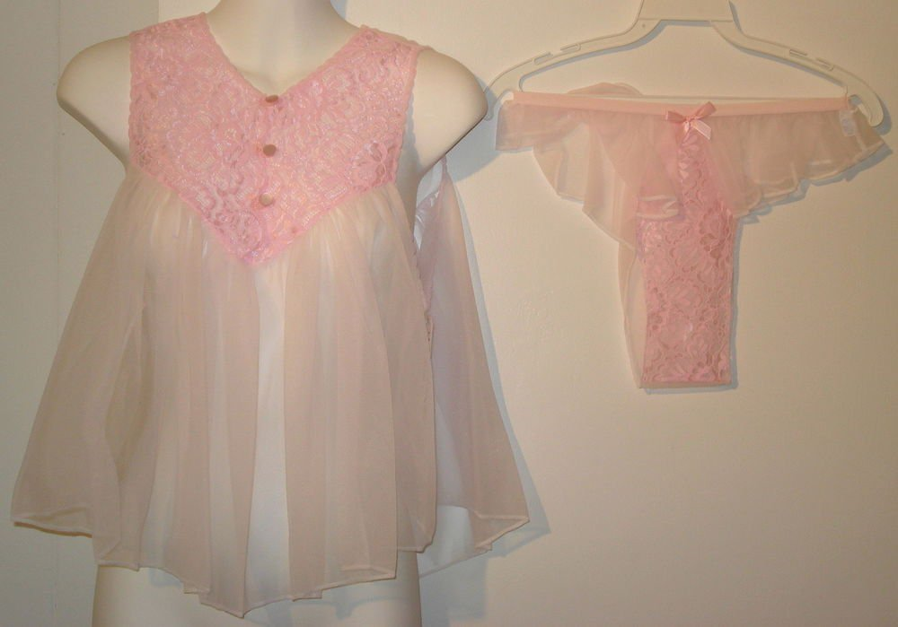 SEXY   Nancy King Baby Doll night gown  all nylon  size  MEDIUM  pink  nwt