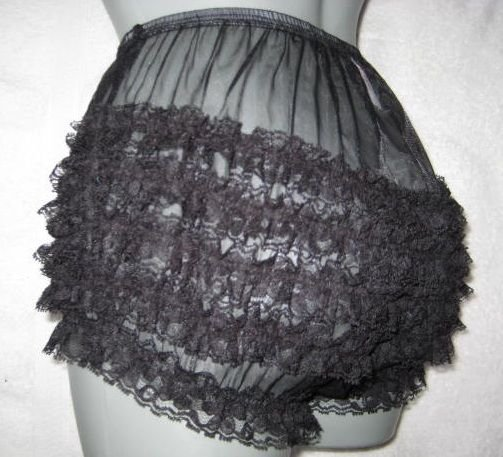 VINTAGE STYLE  RUFFLE SHEER  BLACK NYLON PANTIES SMALL WAIST-31 IN