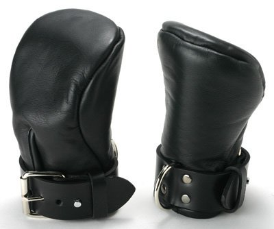Strict Leather Deluxe Padded Fist Mitts Gloves + D Ring  M/L