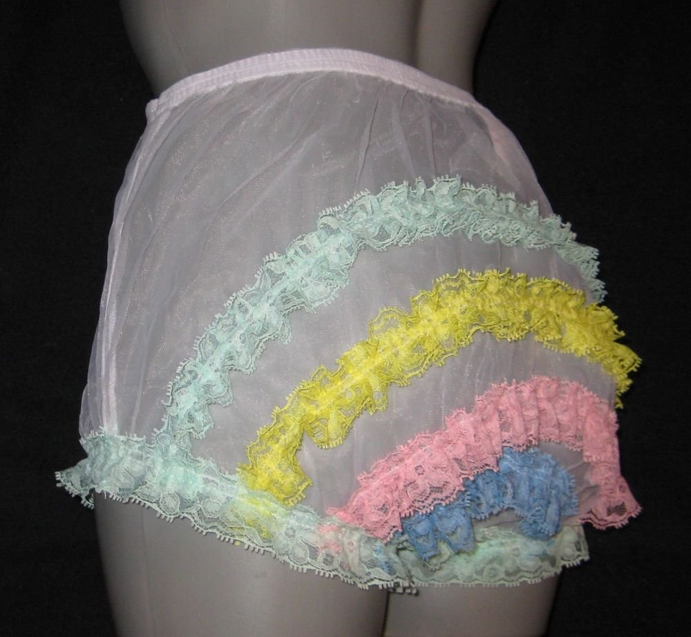 CD ULTRA SHEER GIRLY VINTAGE STYLE  WHITE  PANTIES  PANTIES M-L-XL